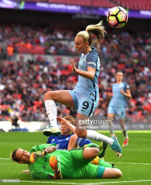 AnnKatrin Berger of Birmingham City Ladies saves from Toni Duggan of Manchester City during the SSE Women's FA Cup Final between Birmingham City...