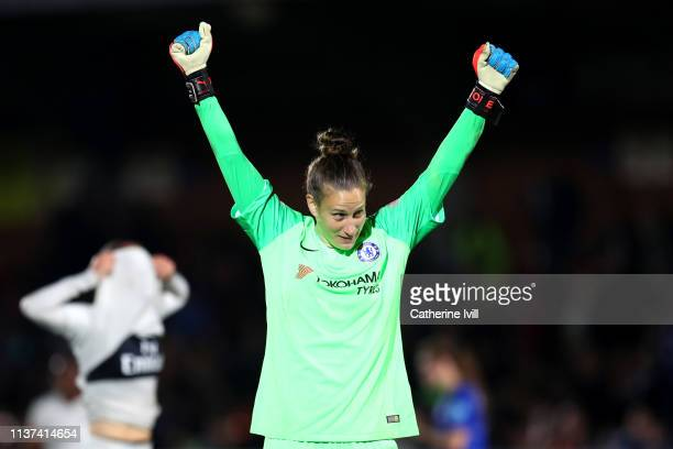 AnnKatrin Berger of Chelsea celebrates victory during the UEFA Women's Champions League Quarter Final First Leg match between Chelsea Women and Paris...