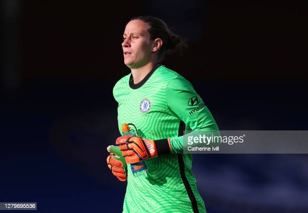 AnnKatrin Berger of Chelsea during the Barclays FA Women's Super League match between Chelsea Women and Manchester City Women at Kingsmeadow on...