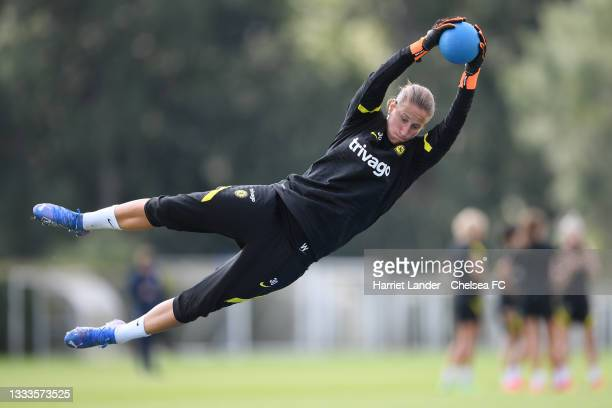 Ann-Katrin Berger of Chelsea makes a save during a Chelsea FC Women's Training Session at Chelsea Training Ground on August 11, 2021 in Cobham,...