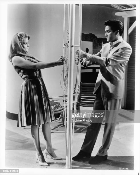 AnnMargret and Elvis Presley gaze at each other fondly in a scene from the film 'Viva Las Vegas' 1964
