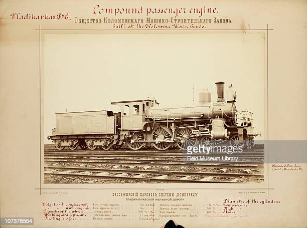 Annotated photograph of a compound passenger engine built at the Kolomna Works Russia Russia 1892