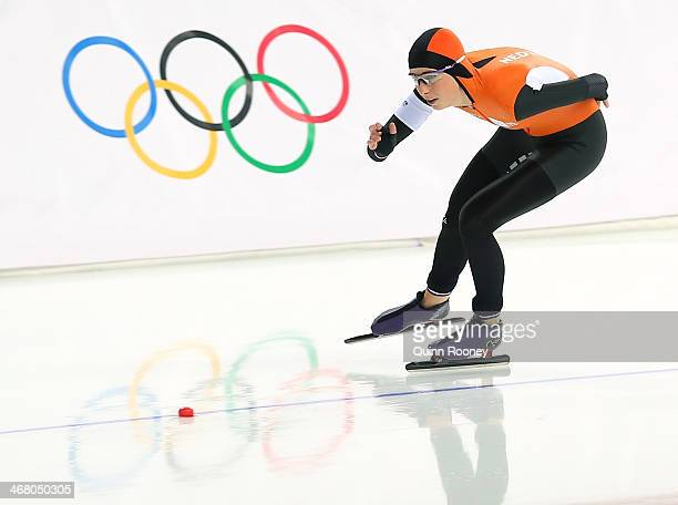 Annouk van der Weijden of the Netherlands competes during the Women's 3000m Speed Skating event during day 2 of the Sochi 2014 Winter Olympics at...