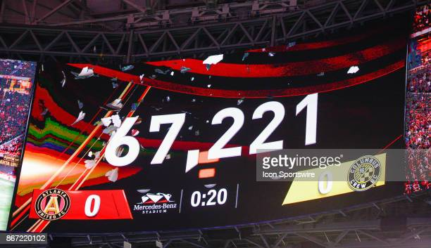 Announced attendance of 67221 to see the playoff match between Atlanta United and Columbus Crew on October 26 2017 at MercedesBenz Stadium in Atlanta...
