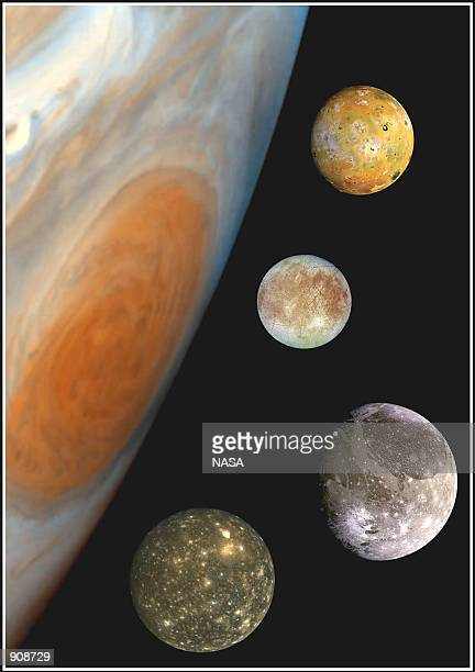 NASA announced March 16 2001 one last mission for the Galileo space probe which includes five more flybys of the moons of Jupiter viewed here in an...