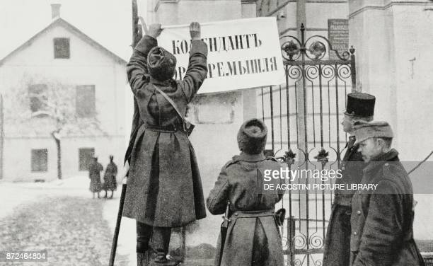 Announcement affixed on the streets of the city during the taking of Przemysl fortress by the Russians Poland World War I from L'Illustrazione...