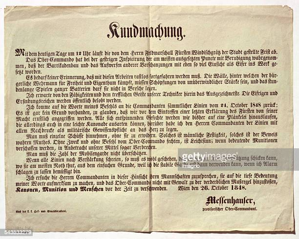 Announcement of the Vienna High Commander Wenzel Messenhauser on the day of expiry of the transfer period granted by Prince Windischgrätz 26th...