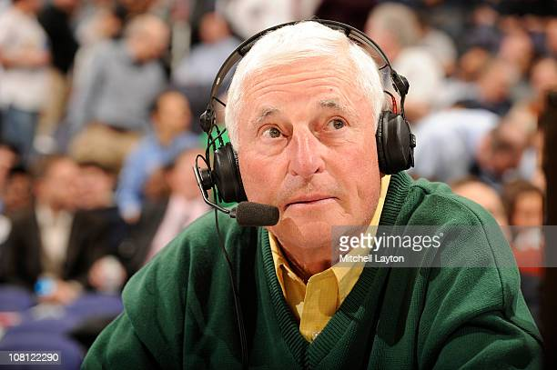 ESPN announcer Bobby Knight during a college basketball game between the Georgetown Hoyas and the Pittsburgh Panthers on January 12 2011 at the...