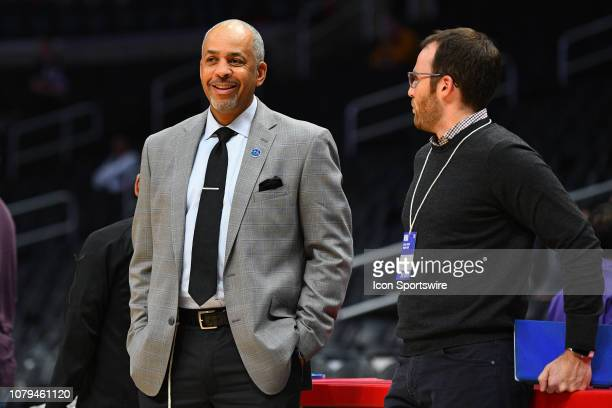 Announcer Del Curry looks on during a NBA game between the Charlotte Hornets and the Los Angeles Clippers on January 8 2019 at STAPLES Center in Los...
