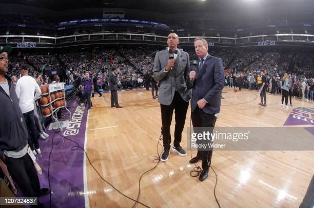 Announcer Doug Christie and Grant Napear look on after the NBA announces that the game between the New Orleans Pelicans and Sacramento Kings will be...
