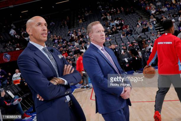 Announcer Doug Christie and Grant Napear look on during the game between the Oklahoma City Thunder and Sacramento Kings on December 11 2019 at Golden...