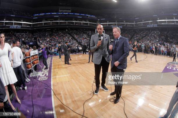 Announcer Doug Christie and Grant Napear react after the NBA announces that the game between the New Orleans Pelicans and Sacramento Kings will be...