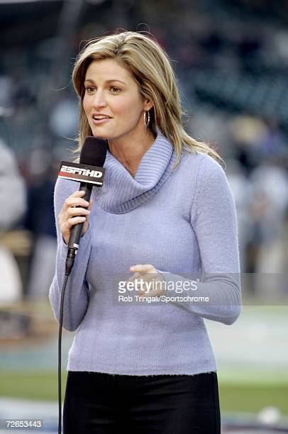 ESPN announcer Erin Andrews before a game between the New York Yankees and the Detroit Tigers during Game Three of the 2006 American League Division...