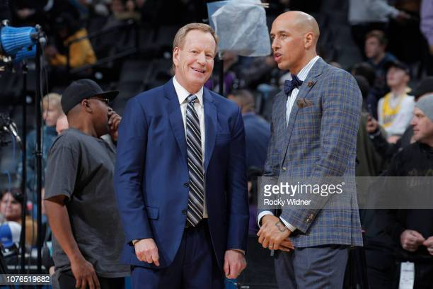 Announcer Grant Napear and Doug Christie of the Sacramento Kings talk prior to the game against the Los Angeles Lakers on December 27 2018 at Golden...