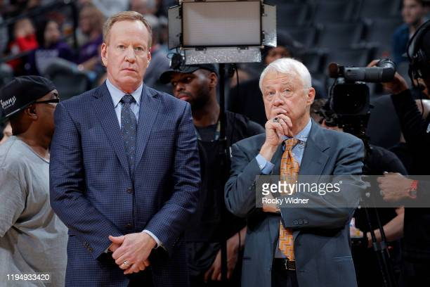 Announcer Grant Napear and TV analyst Jerry Reynolds look on prior to the game between the Dallas Mavericks and Sacramento Kings on January 15 2020...