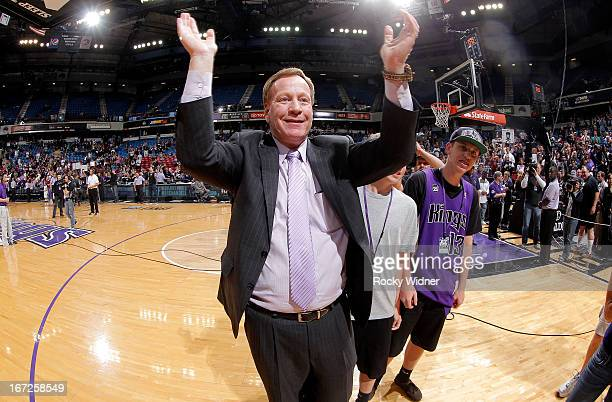 TV announcer Grant Napear of the Sacramento Kings during the game between the Los Angeles Clippers and Sacramento Kings on April 17 2013 at Sleep...