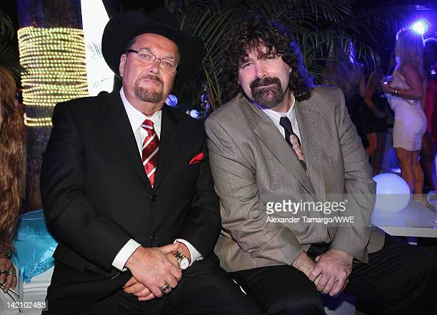 WWE announcer Jim Ross and WWE legend Mick Foley attend WrestleMania Premiere Party A Celebration of Miami Art and Fashion on March 29 2012 in Miami...