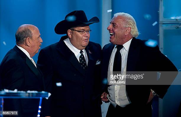 WWE announcer Jim Ross center along with Mean Gene Okerland and Ric Flair attends the 25th Anniversary of WrestleMania's WWE Hall of Fame at the...