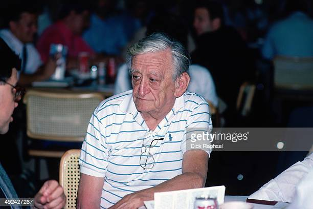 Announcer Jonny Most talks to the media circa 1988 at the Boston Garden in Boston Massachusetts NOTE TO USER User expressly acknowledges and agrees...