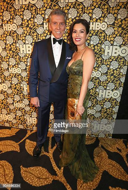 Announcer Michael Buffer and Christine Buffer attend HBO's Official Golden Globe Awards After Party at The Beverly Hilton Hotel on January 10 2016 in...