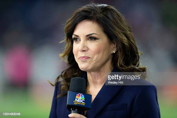 TV announcer Michele Tafoya on the field before a game between the Dallas Cowboys and the Houston Texans at NRG Stadium on October 7 2018 in Houston...
