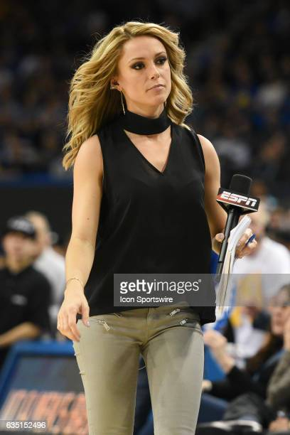 ESPN announcer Molly McGrath looks on during a college basketball game between the Oregon Ducks and the UCLA Bruins on February 9 at Pauley Pavilion...