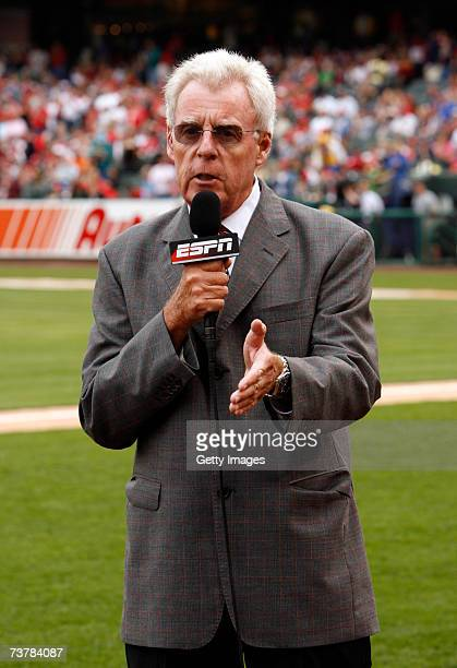 Announcer Peter Gammons on the field during the Civil Rights Game between the Cleveland Indians and the St Louis Cardinals on March 31 2007 at...