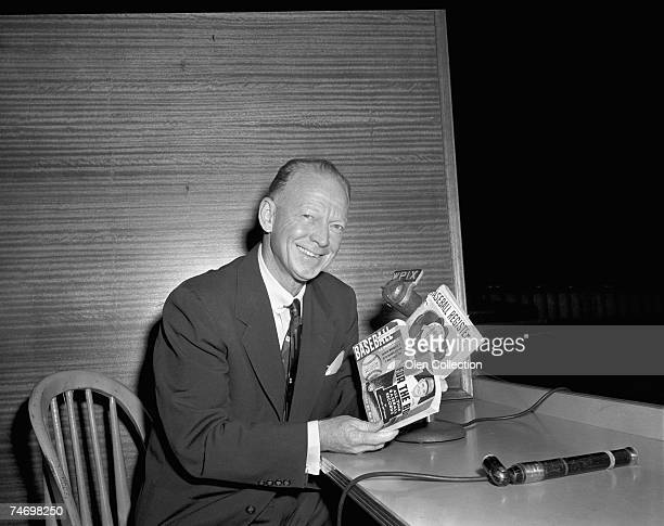 Announcer Red Barber of the New York Yankees poses for a portrait in the press box prior to a game on September 10 1959 against the Kansas City A's...