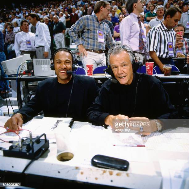 Announcer Rod Hundley calls Game five of the 1997 NBA Finals between the Chicago Bulls and the Utah Jazz at the Delta Center on June 11 1997 in Salt...