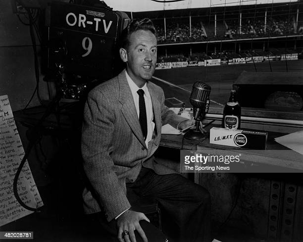Announcer Vin Scully of the Los Angeles Dodgers poses for a photo circa 1960s.