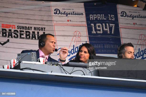 ESPN announcers Alex Rodriguez Jessica Mendoza and Matt Vasgersian announce the game during a MLB game between the San Francisco Giants and the Los...