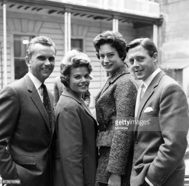 Announcers Kenneth Kendall, Judith Chalmers, Nan Winton and Michael Aspel, 29th September 1960.