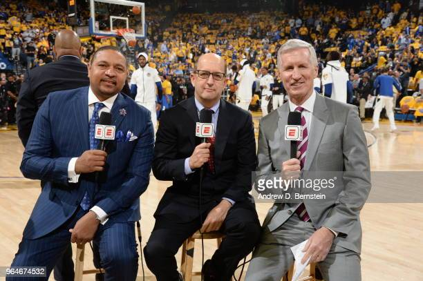 Announcers Mark Jackson Jeff Van Gundy and Mike Breen of ESPN look on prior to Game One of the 2018 NBA Finals between the Golden State Warriors and...