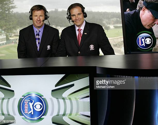 Announcers Nick Faldo and Jim Nantz in the broadcast booth at the 18th green during the third round of the AT&T Pebble Beach National Pro-Am on the...