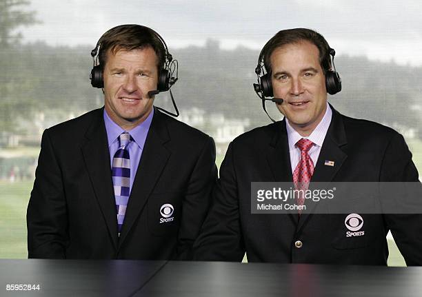 CBS announcers Nick Faldo and Jim Nantz in the broadcast booth at the 18th green during the third round of the ATT Pebble Beach National ProAm on the...