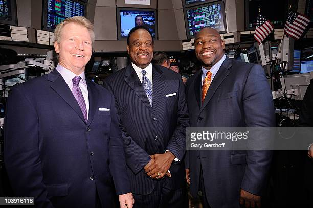 NFL announcers Phil Simms James Brown and Warren Sapp kick off the NFL season at the New York Stock Exchange on September 8 2010 in New York City