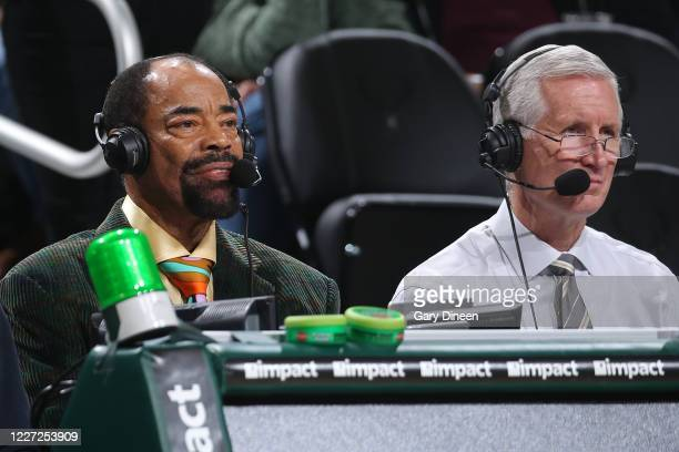 Announcers Walt Frazier and Mike Breen look on during the game between the New York Knicks and the Milwaukee Bucks on December 2, 2019 at the Fiserv...