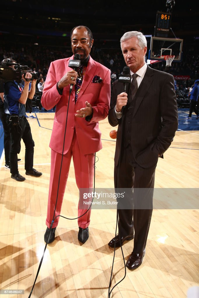 Announcers, Walt Frazier and Mike Breen talk on court before the Cleveland Cavaliers game against the New York Knicks on November 13, 2017 at Madison Square Garden in New York City, New York.