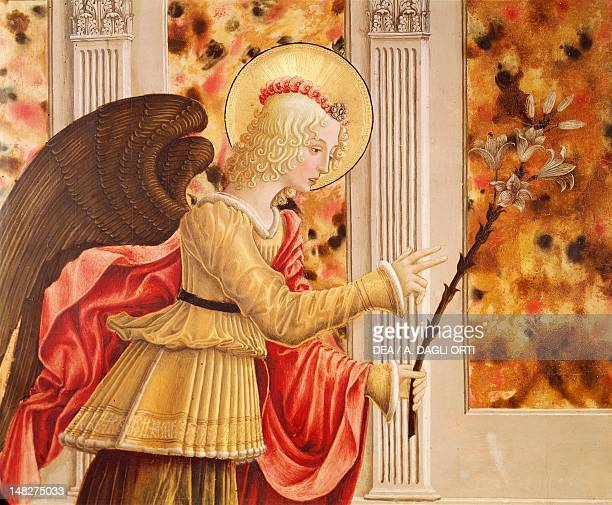Announcing Angel detail from the Annunciation with St Luke the Evangelist by Benedetto Bonfigli panel 227x200 cm Perugia Galleria Nazionale...