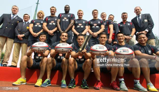 Announcing ceremony of men's and women's squads for Hong Kong Sevens at King's Park Group picture of men's team Cado Lee Ban Rimene Rown Varty...