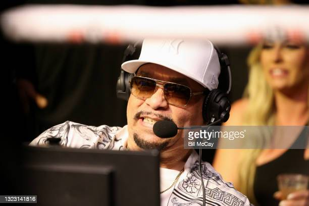 Announcing during the celebrity boxing match at Showboat Atlantic City on June 11, 2021 in Atlantic City, New Jersey.
