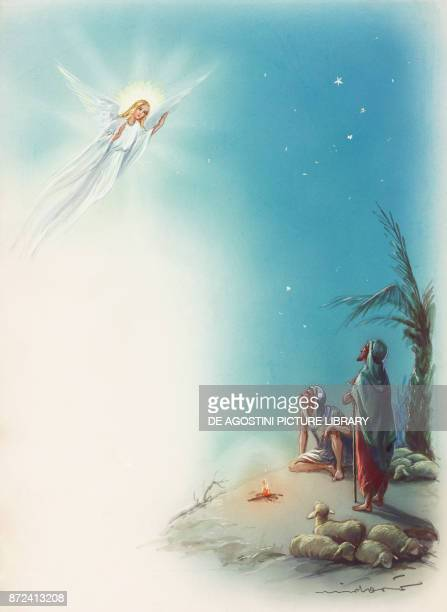 Announcing the shepherds an angel proclaiming Jesus' birth in Bethlehem episode from the Gospel drawing