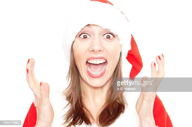 Annoyed woman in Santa Claus costume, annoying Christmas