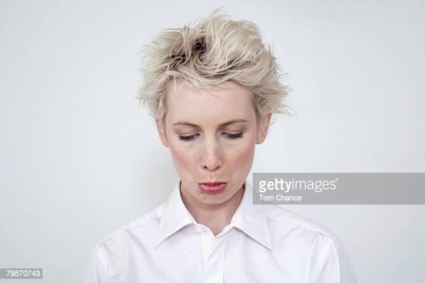 'Annoyed woman, portrait'