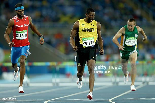 Annsert Whyte of Jamaica reacts during the Men's 400m Hurdles Semifinals on Day 11 of the Rio 2016 Olympic Games at the Olympic Stadium on August 16...