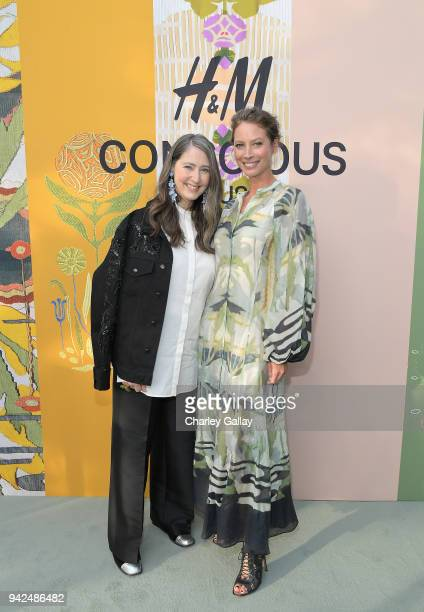 AnnSofie Johansson and Christy Turlington attend the HM celebration of 2018 Conscious Exclusive collection at John Lautner's Harvey House on April 5...