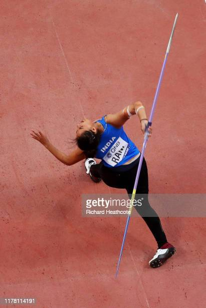 Annu Rani of India competes in the Women's Javelin qualification during day four of 17th IAAF World Athletics Championships Doha 2019 at Khalifa...