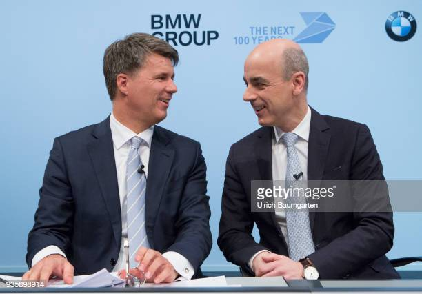 Annual Account Press Conference of BMW Group in Munich Harald Krueger Chairman of the Board of Management of BMW AG and Nicolas Peter Member of the...