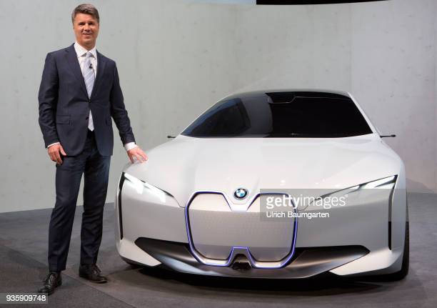 Annual Account Press Conference of BMW Group in Munich Harald Krueger Chairman of the Board of Management of BMW AG stands at a BMW i4 the electric...
