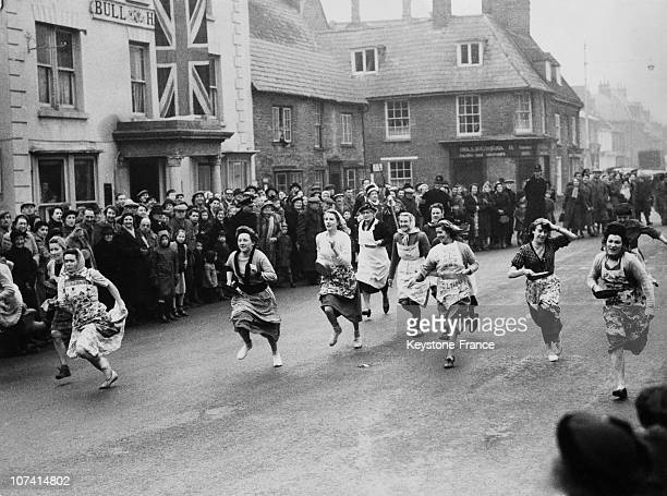 Annual America Versus England Pancake Race At Olney In Usa On 1953